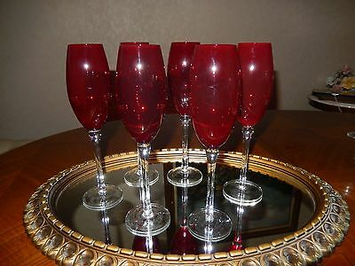 (6) Lovely Tall  Red With Clear Stem Wine /  Champagne Flutes