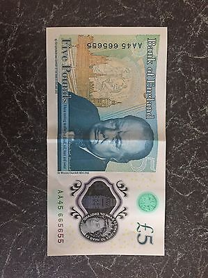 New £5 With Serial Number AA45