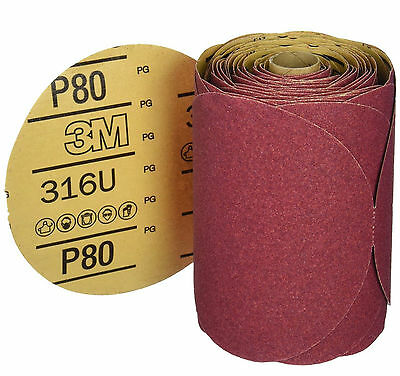 "3M 01116 Adhesive Back 6""  Stick It  - 80 Grit Disc Sandpaper 100 Sheets Roll"