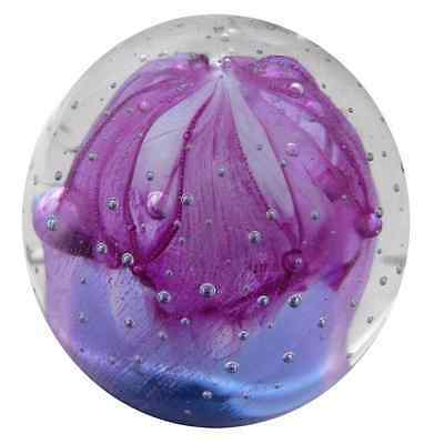 New Glass Paperweight Pink Purple Jellyfish Round Shape 7 x 7 x 7 cm