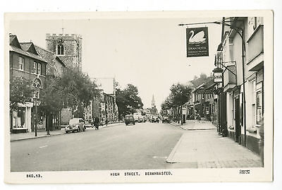 Postcard: Berkhamsted High Street, by The Swan. Frith Real Photo BKD13