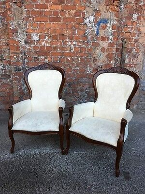 Pair Of Antique Style Mahogany Reproduction Salon Armchairs - Two Armchairs