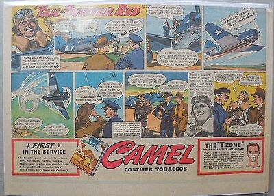 Camel Cigarette Ad: Navy Test Pilot Red Hulse Half or Tabloid Page