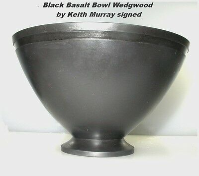 Black Basalt Bowl Wedgwood by Keith Murray signed Art Deco Perfect Condition