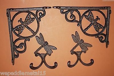 (2) Dragon fly,WALL HOOK,(2) SHELF BRACKETS,country decor,garden decor,H-59,B-10