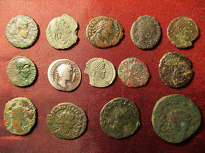Lot of 14 ancient roman silver and bronze coins to identify