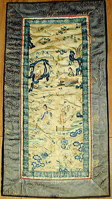 A Nice Antique Chinese Silk Embroidery Panel Qing Dynasty