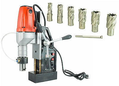 """SDT MD40 Electric Magnetic Drill Press with 7 PC 1"""""""""""" HSS Annular Cutter Kit"""