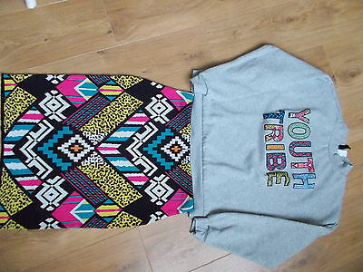 Ensemble sweat gris youth tribe et jupe multicolore ethnique H&M taille 40 neuf