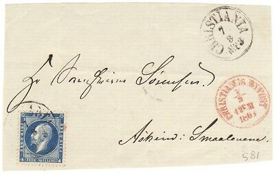4025) Norway 1863 Cover Front- CHRISTIANIA - NK 4 - 4  skilling - Norge Norwegen
