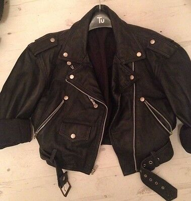 vintage leather medium biker jacket