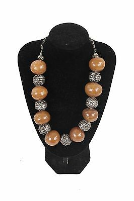 VINTAGE Amber-look Beads & Silver Metal ETHNIC Chuncky NECKLACE