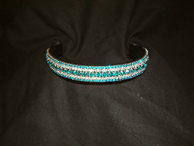 Bling Diamante Dressage Show Browband Clear/Turquoise Crystal BLACK/BROWN