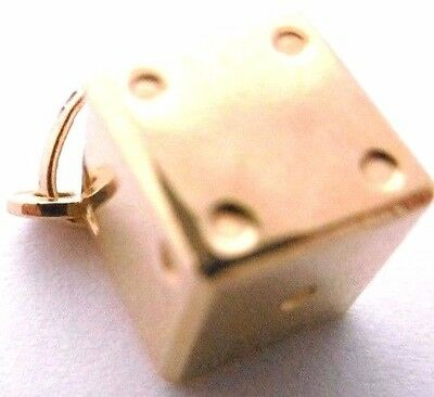 Vintage   LUCKY DICE  9ct yellow gold  solid enamel charm 1.6g