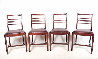 4 Oak Dining Chairs ERCOL Leather Vintage Antique Set of Four