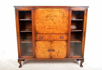 Vintage Bureau Bookcase Walnut Glazed Art Deco Writing Desk Chest 1930s Queen An