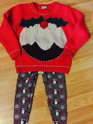 Girls NEXT Christmas Pudding Knitted Jumper & Leggings Outfit 4-5 Yrs VGC