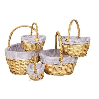 Woodluv Oval Wicker Xmas Hamper Shopping Storage Basket - Natural in 5 Sizes
