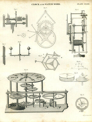 Antique print CLOCK & WATCH WORK - Horology - copper plate engraving - 1842 - C3