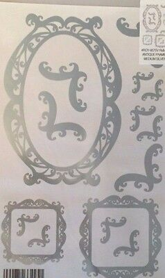 E-Z Rub On Transfers / Rubbings / Decals - 'antique Frames' - Silver Foil - Med