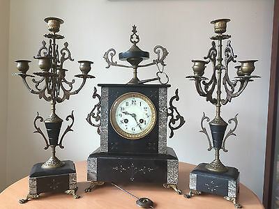 Antique French (Rolsem Paris) Slate & Marble Mantel Clock With Candelabras