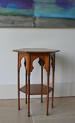 Arts & Craft Liberty & Co Oak Moorish Gothic Coffee Hall Bedside Lamp Side Table