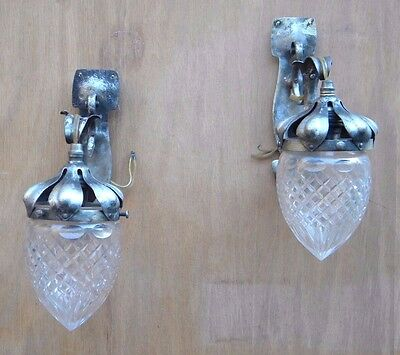 Vintage Pair Of Acorn Wall Sconces, Primitive Patina, Hand Hammered, Great Glass