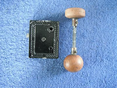 Vintage antique Salvage door latch lock set  Wood door knobs and key