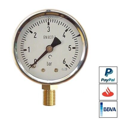 "MANOMETRO DE PRESION 6 Bar 42 mm 1/8"" GLICERINA ROSCA RADIAL CAJA INOX MANOMETER"