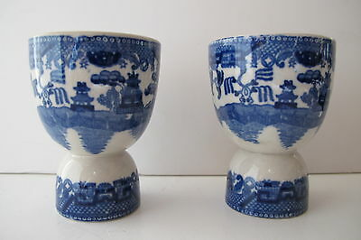 Lot of 2 Vintage Blue Willow Double Egg Cups Japan
