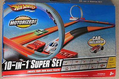 VGC Hot Wheels Motorised create your own tracks 10 in 1 Super Set with 3 cars