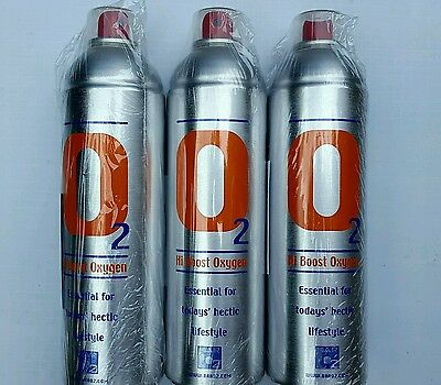3 X Pure Oxygen 7.2 Litre can, Portable Oxygen Cylinder Sports Performance