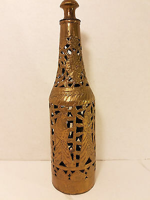 Atq Middle Eastern Bottle Cover Pierced Brass Light Incence Turkish Moorish NOS