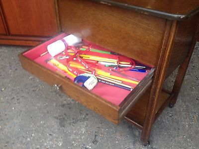 Vintage Oak Sewing Trolley with Drawer & Storage Compartment
