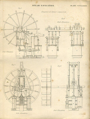 Antique print STEAM NAVIGATION Engines of DIRECT CONNECTION - engraving - 1842
