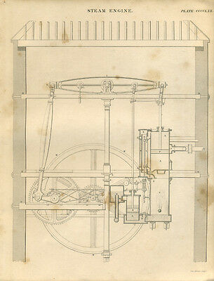 Antique print STEAM ENGINE - copper plate engraving - 1842 - ST1