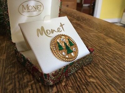 Vintage Monet Enameled & Rhinestone Christmas Holiday Pin Brooch Marked With Box