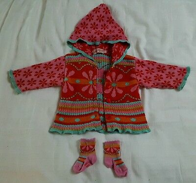 Clayeux Girls Cardigan with Sparkly Thread & Matching Socks 6m 67cm