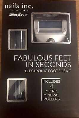 Nails Inc! MICRO Pedi. ELECTRONIC Foot File Kit. Inc 4 Micro Mineral Rollers.