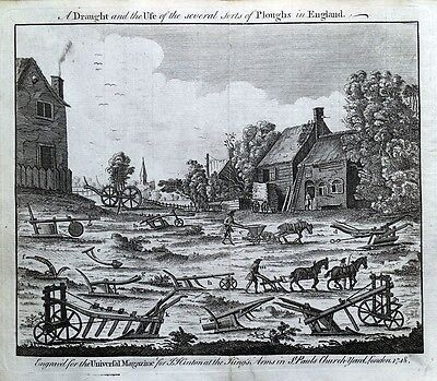 The PLOUGHS of ENGLAND, C18th  PLOUGHING original antique farming print 1748