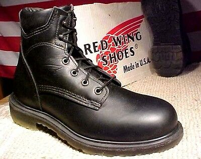 Red Wing Men Size 8 Ee Made In The Usa Black Leather Boots #607