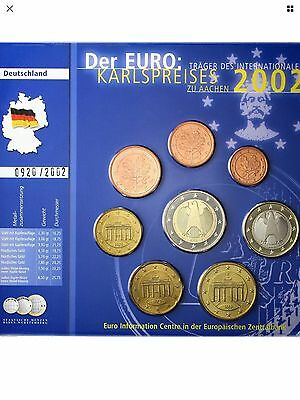 Germany Euro Coin Set 2002 Letter F New BUNC Karlspreises KMS All Coins 1c-2€