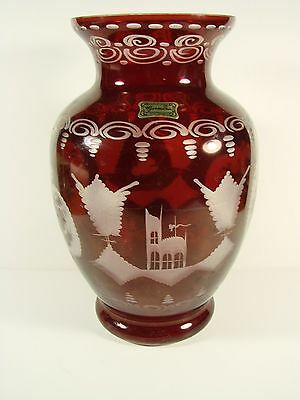 Etched Ruby Glass Vase Frederick Egermann (1774-1864) Company