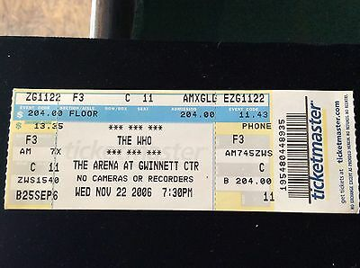 The who concert tickets nov, 27. 2006 ticket stub