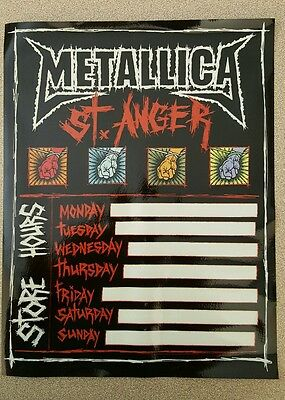 METALLICA ST ANGER Store Hours Static Sticker Vinyl Window Cling