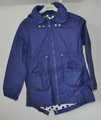 A Girls H&m Blue Rainmac/parka With Spotty Lining Age 7 To 8 Detachable Hood