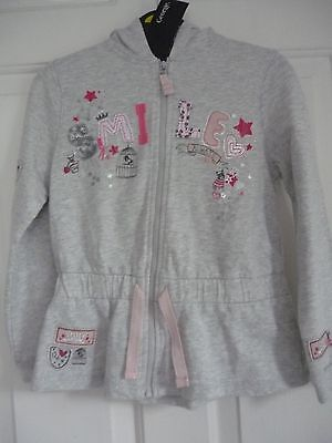 girls Grey Hooded Top jacket fit 6-7 yrs zip up front Jersey look 'SMILE'