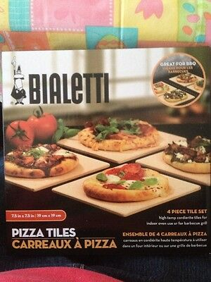 Bialetti Pizza Tiles Stones 4 Piece Tile Set. For use in oven or BBQ Grill New