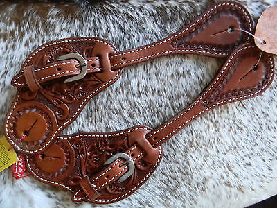 Mens Floral Tooled Argentina Leather Western Show Spur Straps Hot New Item