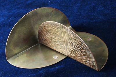 Arts&Crafts 1910 ROYCROFT Antique Pair Hammered Copper Circle Bookends ExcPatina
